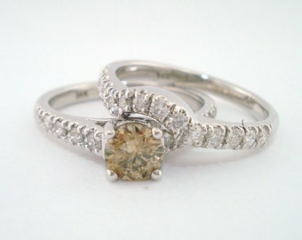 Champagne Diamond Engagement Ring Set, Brown Diamond Wedding Sets, 1.14 Carat 14K White Gold handmade