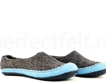 "Men's felted slippers ""Chief of Iroquois"" 