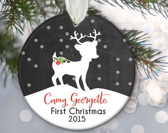 Baby's First Christmas Ornament, Baby ornament, Fawn baby Personalized Christmas Ornament, Baby shower gift, Deer Ornament, Chalkboard OR374