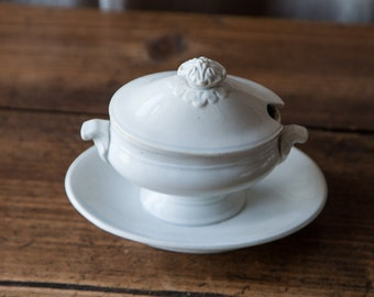Antique old white earthenware mustard pot Creil Montereau
