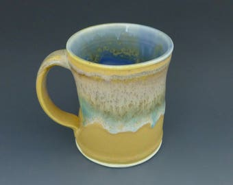 Unique handmade mug, caffeine lovers gift, yellow coffee mug, 12 oz coffee mug, Louisiana pottery
