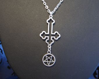 Satanic Inverted Cross/Inverted Pentagram Necklace