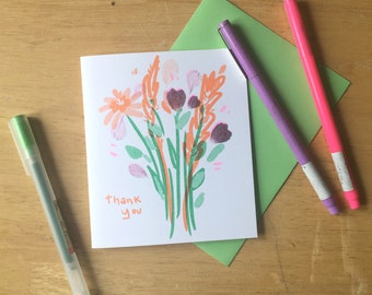 Thank You Card / Flower Thank You Card / Risograph Printed Card