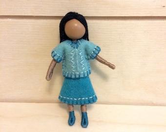Joy - Multicultural doll - Dollhouse doll - Miniature doll - Bendy doll - Faceless doll - Waldorf doll - Montessori