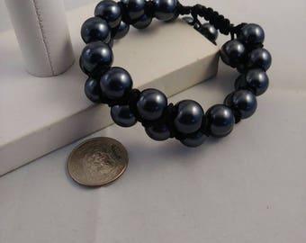 Double row braided pearl bracelet,  braided bracelet, beaded bracelet