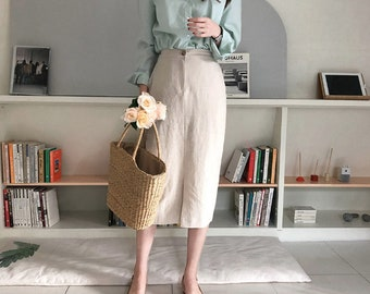 Linen skirt pockets / Linen pencil skirt / Linen summer skirts / office skirt / long skirt / linen long skirt / banding skirt / summer skirt