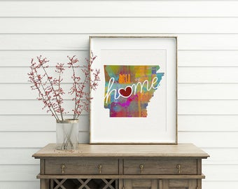 Arkansas Love - AR - A Colorful Watercolor Style Wall Art Hanging & State Map Artwork Print - College, Moving, Engagement, and Shower Gift