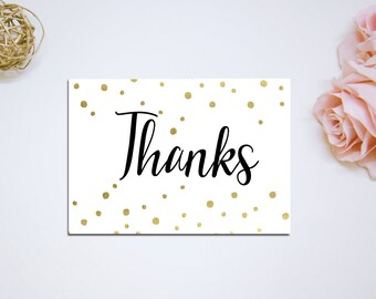 Thank You Card Printable Instant Download - Golden Glitter - Bridal Shower Thank You - BS5