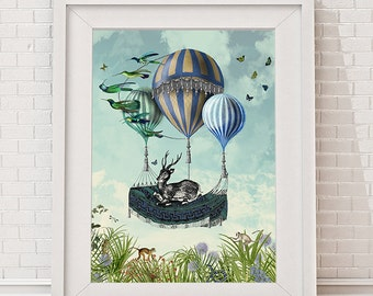 Deer Print - Flight of the Stag - Limited Edition Giclee Print - hot air balloon print deer painting deer art deer poster air balloon poster