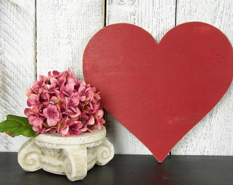 Heart Decor Rustic Valentines Day Decor Heart Wall Hanging Wooden Heart Sign Red Heart Wall Art Heart Wall Decor Wood Heart Decoration