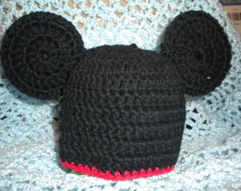 Boy Mouse Crocheted Cotton Hat - Great Photo Prop
