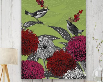 Bird Art - Blooming birds chrysanthemum 1 - Bird lover bird decor bird print bird painting bird gift bird artwork bird wall decor bird image
