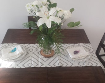 "Grey and White Table Runner. Modern Geometric Design 15"" x 83"""