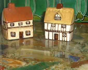 Two Suffolk Cottages Miniature Houses Ceramic Homes Made in England Fairy Garden
