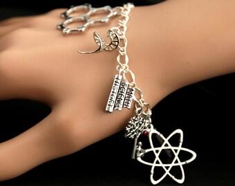 Science Bracelet. Physics Charm Bracelet. Biology Bracelet. Chemistry Bracelet. Scientific Bracelet. Silver Bracelet. Handmade Jewelry.