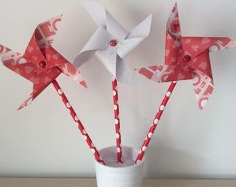 Windmills, red, white