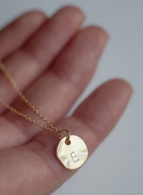 Gold round disc initial necklace bridesmaid jewelry aloadofball Image collections