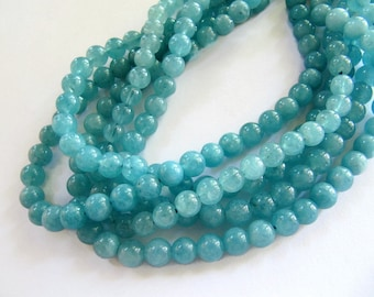 6mm AQUAMARINE Beads in Light Blue, Round Gemstones, 1 Strand, Approx 60 Beads, Dyed