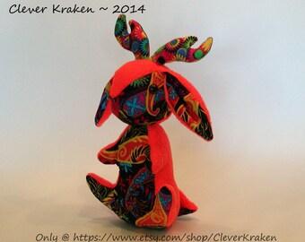 SALE - Chakra the Jackalope, plush bunny rabbit doll, neon orange w/ groovy patterns