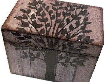 Wedding Guest Book  Box Alternative, Wedding Recipe Box, Rustic Tree of Life, Large Handcrafted Box Holds 4x6 MADE TO ORDER