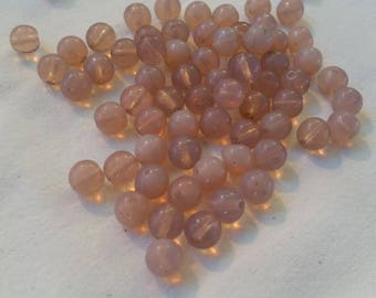 Set of 10 glass beads pink pale opaque 8mm