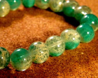 20 10 mm speckled 2 tone translucent glass beads - blue PE188-4