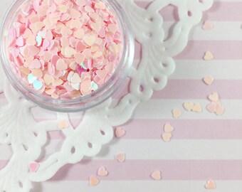 3mm Pastel Pink Heart Glitter