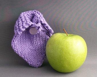Lavender Apple Cozy Sweater Jacket Back to Shool Handknit Crochet Loop Fruit Purple Button Backpack Accessory Gift