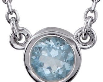 Aquamarine Solitaire Necklace, Gemstone Pendant, March Birthstone, Sterling Silver