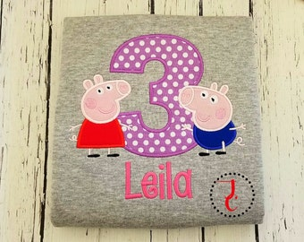 Peppa Pig Birthday Shirt - Girls Birthday Shirt, Boys Birthday Shirt, Birthday Outfit, 1st Birthday, Toddler Birthday, George Pig, Peppa Pig