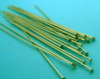 "50x 26 gauge 14k gold filled cup flat head pin headpins 1.5"" F20g"