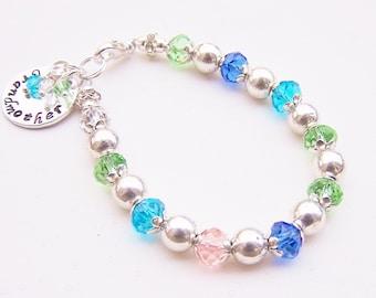 Mothers Grandmothers Birthstone Swarovski crystal handstamped pendant bracelet