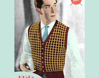 Checkered Vest - PDF digital download vintage knitting pattern from the 1940s / 1950s / 1960s