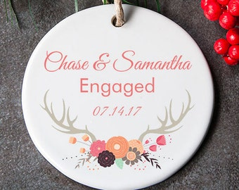 Engagement Ornament, Newly Engaged Ornament, Engagement Gift For Couple, Wedding Shower Gift, First Christmas Engaged
