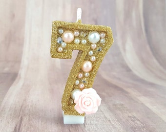 Rhinestone, Pearl and Gold Bedazzled Glitter Number Candles