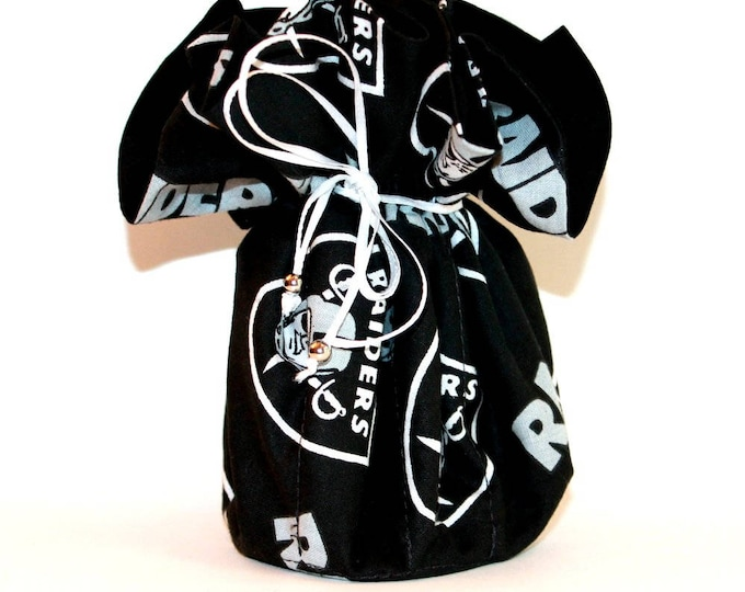OAKLAND RAIDERS Fabric Jewelry Organizer ~ Pouch ~ Storage Case ~ Bag ~ Tote - Bell Art Designs ~ Large ~ JBLG0069