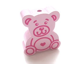 Large Teddy bear soft pink wooden bead