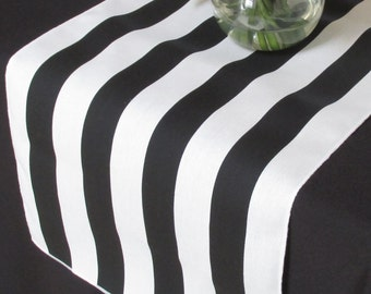 Black And White Striped table runner - white edge - Select A Size - Sale Sale Sale