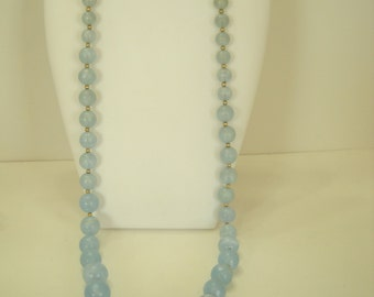 """Vintage 30"""" Frosted Blue Beaded Necklace (6250)"""