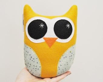 Mustard Yellow Plush Owl - READY TO SHIP