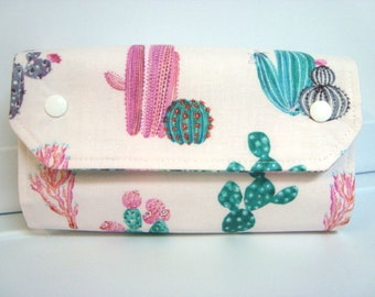 Cash Envelope Wallet  / Dave Ramsey System / Zipper Envelopes - Pink and Turquoise  Cactus