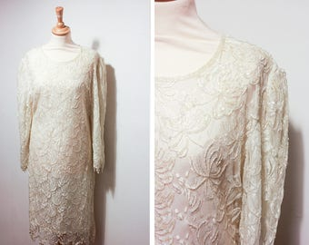 Vintage White Beaded Lace Party Dress
