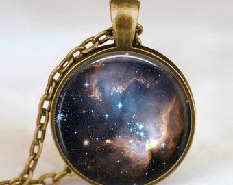 Starry night black space universe  pendant necklace ,  galaxy space  necklace, space universe pendant for men women