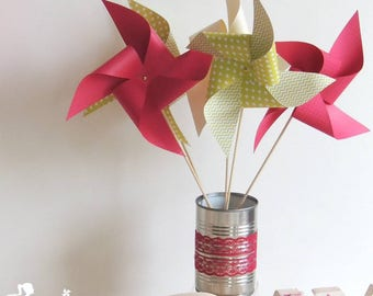 Set of 10 pinwheels wind fuchsia pink, lime green and ivory 15cm