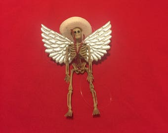 Skeleton ornament with silver foil angel wings #1