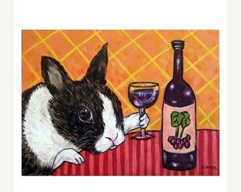 25% off bunny art - Bunny Rabbit at the Wine Bar Art Print - bunny gift
