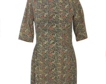vintage 1960's batik dress set / two piece dress / dress jacket / cotton / spring summer dress / women's vintage dress / size large