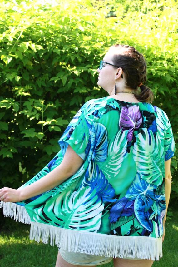 Boho Kimono in Turquoise, Kimono Robe, Kimono Cardigan, Beach Coverup, Kimono Robe Long, Kimono Boho, Long Cardigan, Leaf Motif