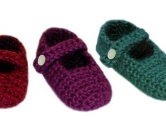 Baby Mary Jane Slippers (3 sizes) - PDF Crochet Pattern - Instant Download