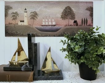 Serenity of the Sea. Schooner Folk Art Print by Donna Atkins. A primitive nautical print, crackled, antiqued. Rustic distressed look.